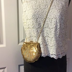 Gold beaded evening bag perfect condition